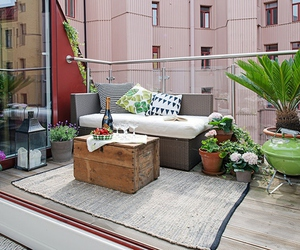 balcony, city, and couch image