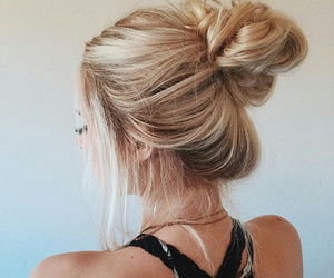 blonde, bun, and girly image