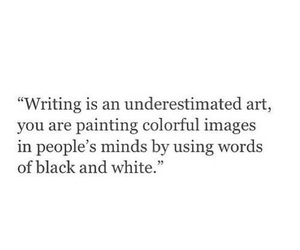 art, black and white, and words image