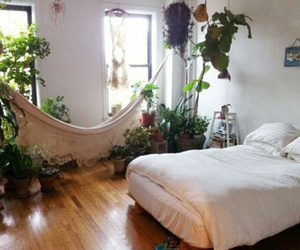 bedroom, bed, and plants image