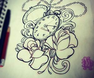art, clock, and draw image