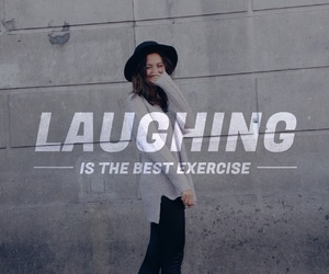 quote, exercise, and laughing image