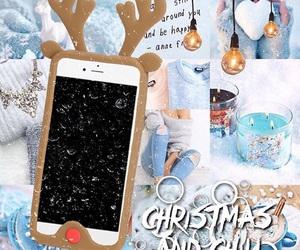 blue, christmas, and reindeer image