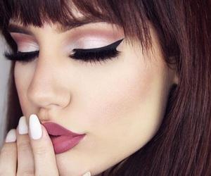 makeup, eyeliner, and lipstick image
