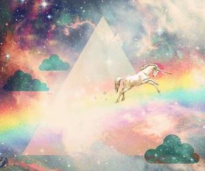 unicorn, rainbow, and galaxy image