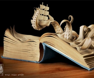 book, octopus, and art image