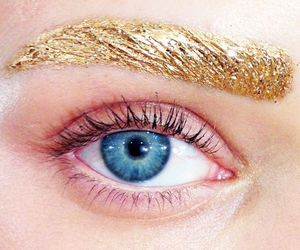 gold, eyebrows, and eye image