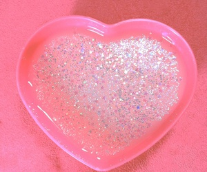 pink, heart, and glitter image
