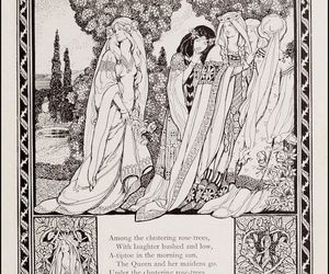 art, arthurian, and black and white image
