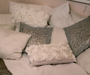 pillow, glitter, and white image