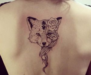 flowers, fox, and tattoo image