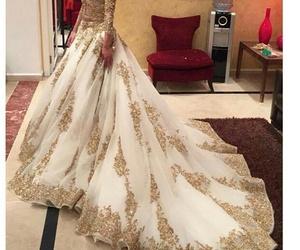 dress, wedding, and gold image