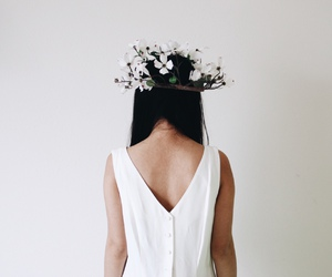 girl, white, and flowers image