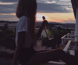 girl, grunge, and sunset image