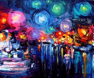 art, night, and painting image