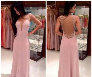pink evening dress, beading prom dress, and long chiffon prom dress image