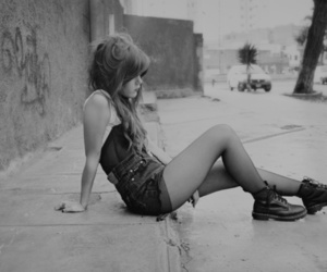 alone, girl, and black and white image