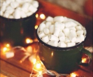 background, hot cocoa, and marshmallows image