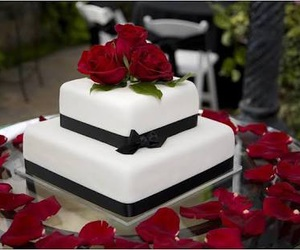 black, roses, and cake image