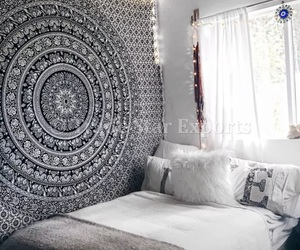 bed, black and white, and cozy image