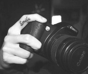 smile, camera, and tattoo image