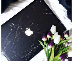 apple, flowers, and laptop image