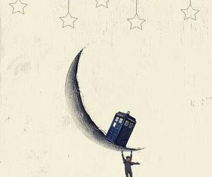 doctor who, tardis, and moon image