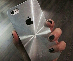iphone, silver, and nails image