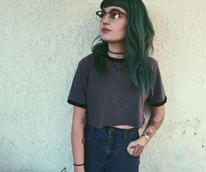 bangs, body modification, and glasses image