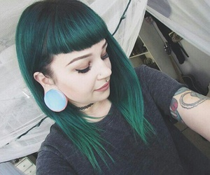 green hair and tattoo image
