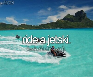 bucket list, jetski, and summer image