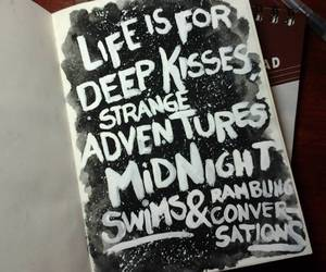 adventures, black and white, and kisses image
