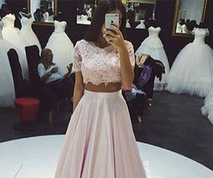 pink prom dress, lace prom dress, and pink lace prom dress image