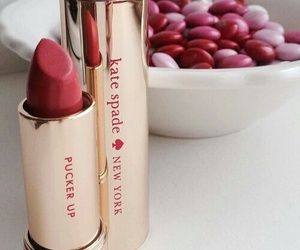 red, lipstick, and kate spade image
