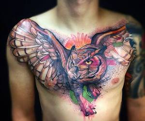 chest, tattoo, and colour image