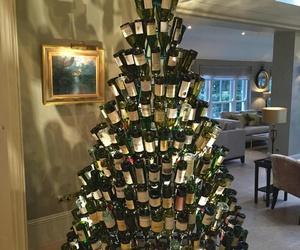 christmas, wine, and tree image