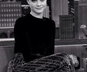 black and white, cara, and fashion image