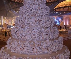 cake, wedding, and rose image