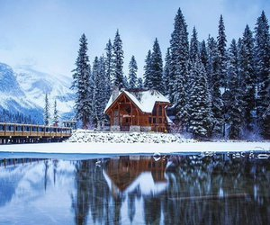 cabin, landscape, and mountains image