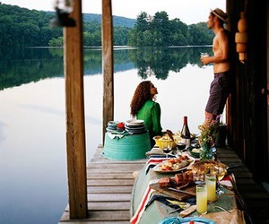 lake, couple, and food image
