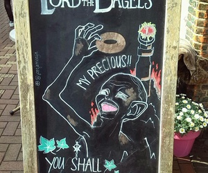 bagels, board, and chalk image