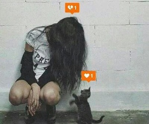 cat, girl, and sad image