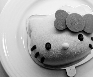 black and white, hello kitty, and h.k image