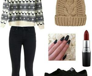 black, lipstick, and pants image
