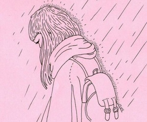 pink, rain, and sad image