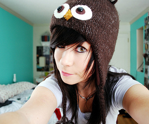 girl, eyes, and owl image