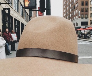 hat, tan, and cream image