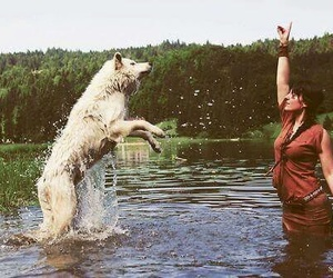 wolf and woman image
