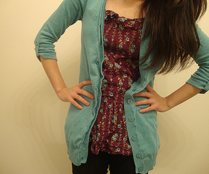 brunette, cardigan, and indie image