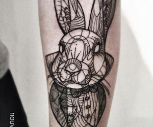 tattoo, rabbit, and alice in wonderland image